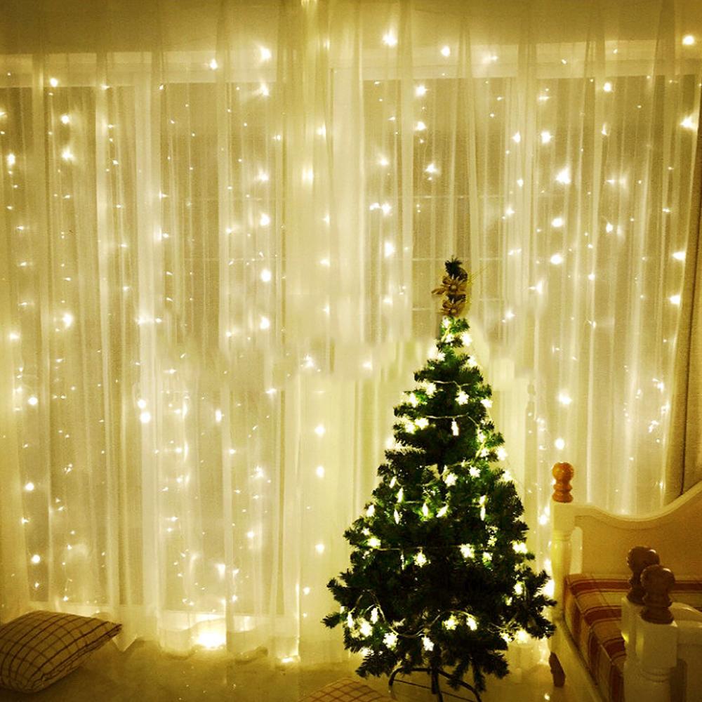 600 Led 6x3m Curtain Light String Fairy Mesh Light Home Christmas Party Decor Ebay