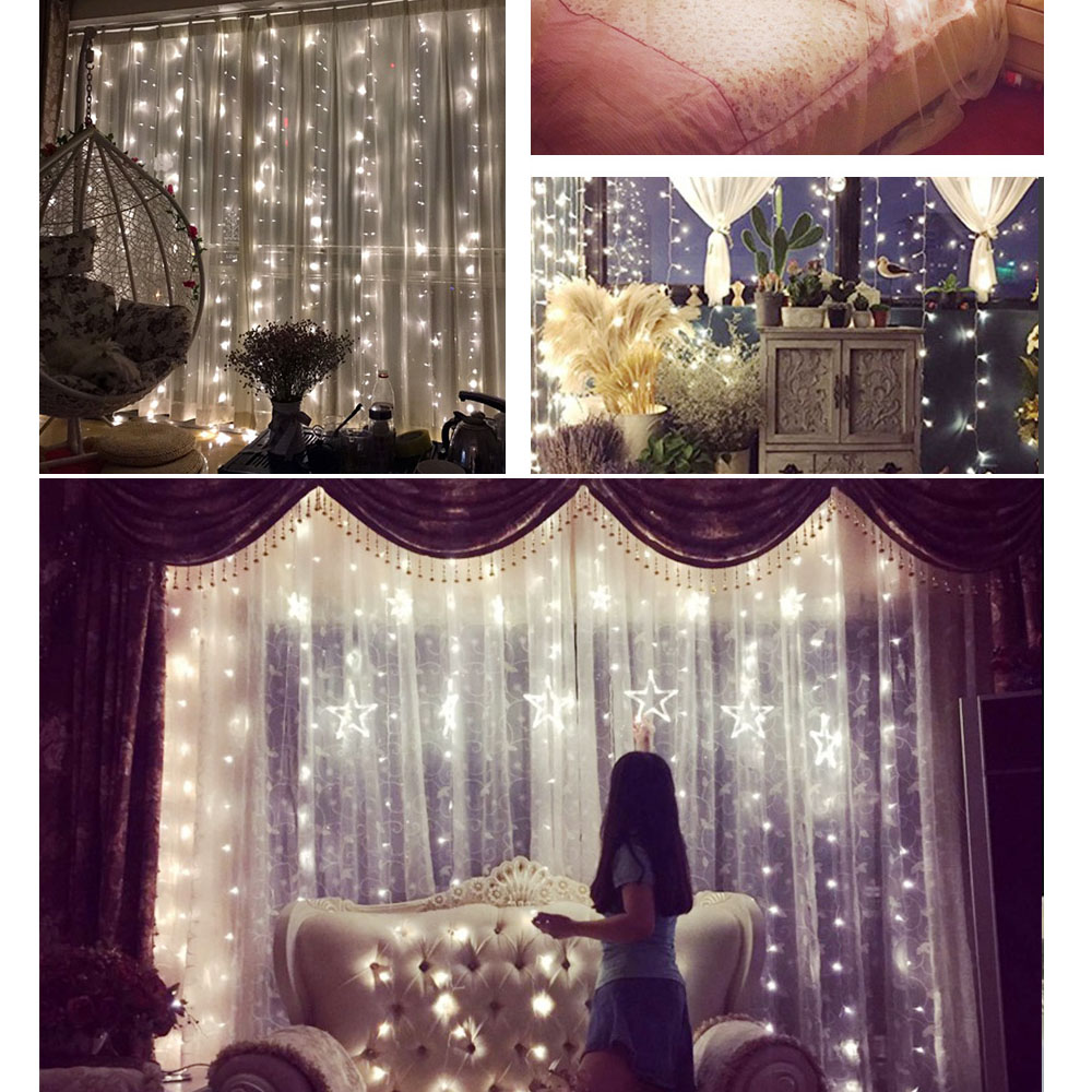 6m X 3m Waterfall Led Light Curtain String Fairy Lights Wedding Party Bedroom