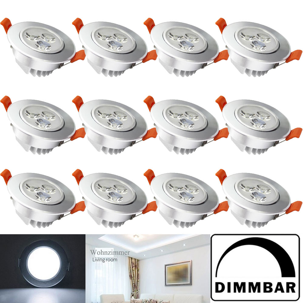 12x 3w led einbauleuchte spot einbau strahler decken leuchte lampe 220v dimmbar ebay. Black Bedroom Furniture Sets. Home Design Ideas