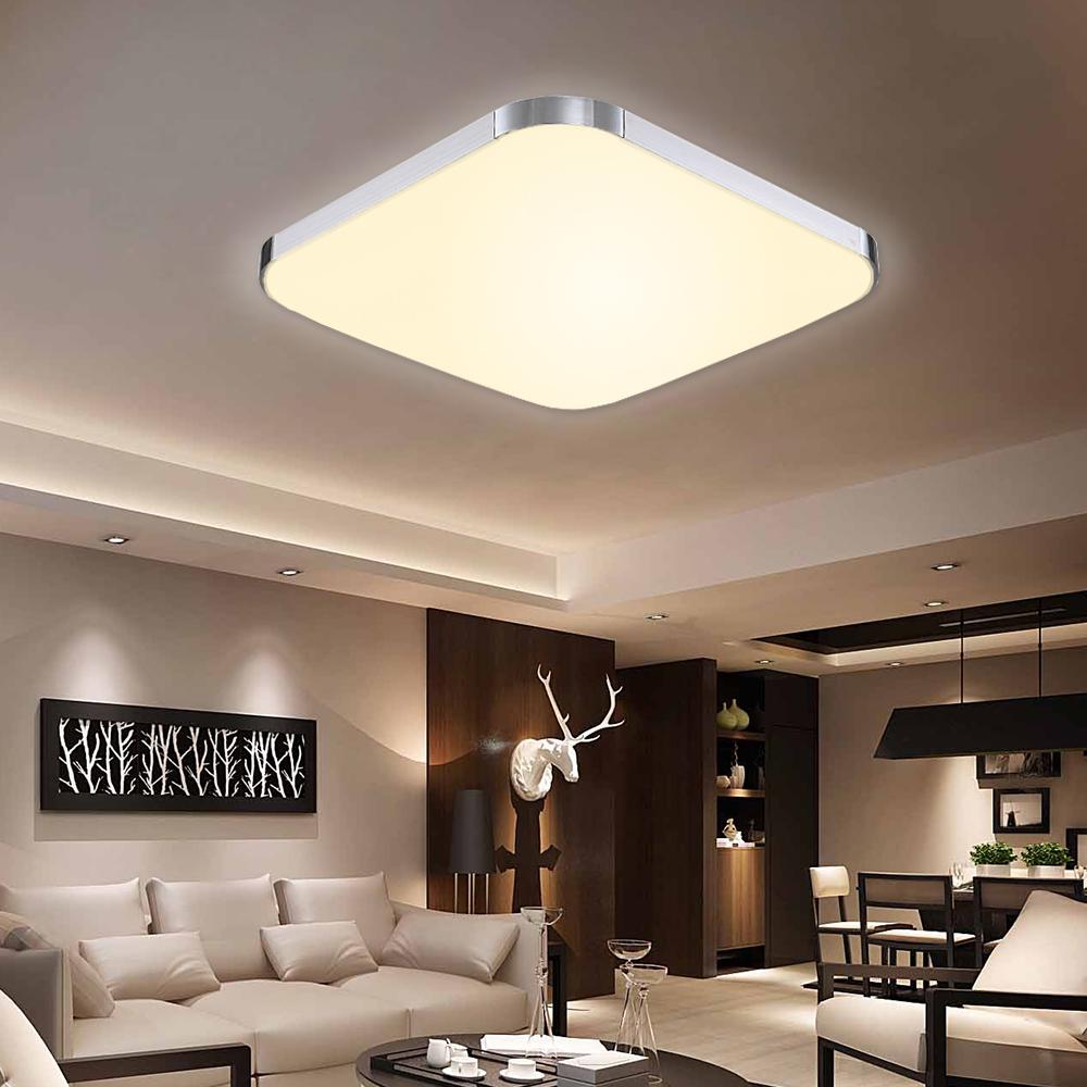 led deckenleuchte badleuchte k che deckenlampe wohnzimmer silber warmwei 12 96w ebay. Black Bedroom Furniture Sets. Home Design Ideas
