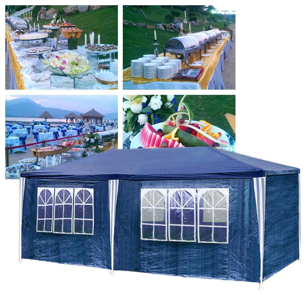 blau festzelt pavillon 3x6m stabiles partyzelt gartenzelt bierzelt pe strand ebay. Black Bedroom Furniture Sets. Home Design Ideas
