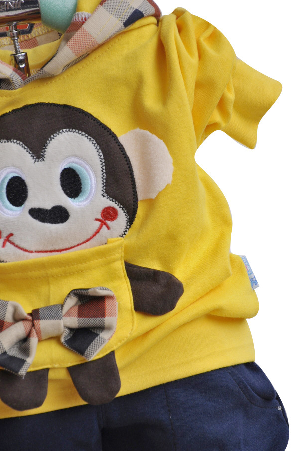 Cute Monkey Set 2pcs Set Hoody Pants Baby Boy Clothes Girls Outfits 8 32months
