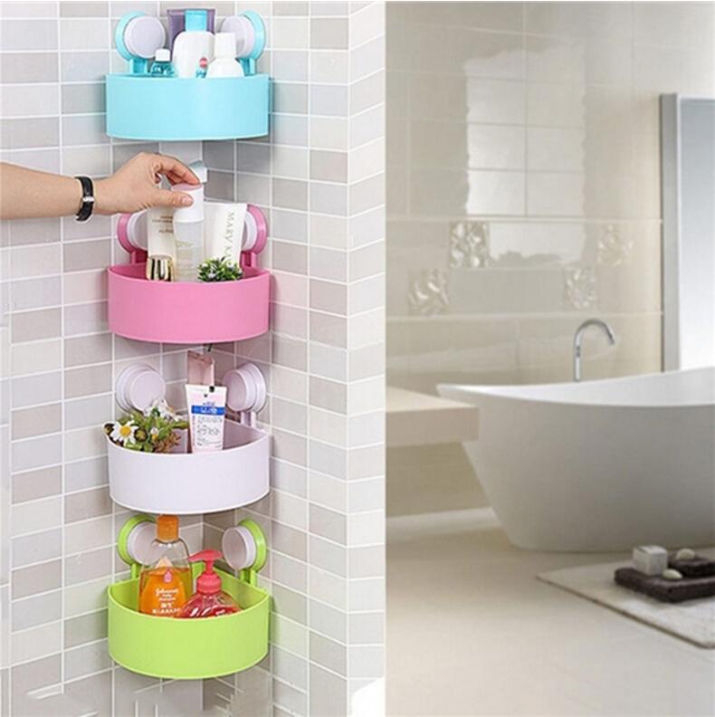 Bathroom Corner Storage Rack Organizer Shower Shelf Suction Cup Shelf Plastic Ebay