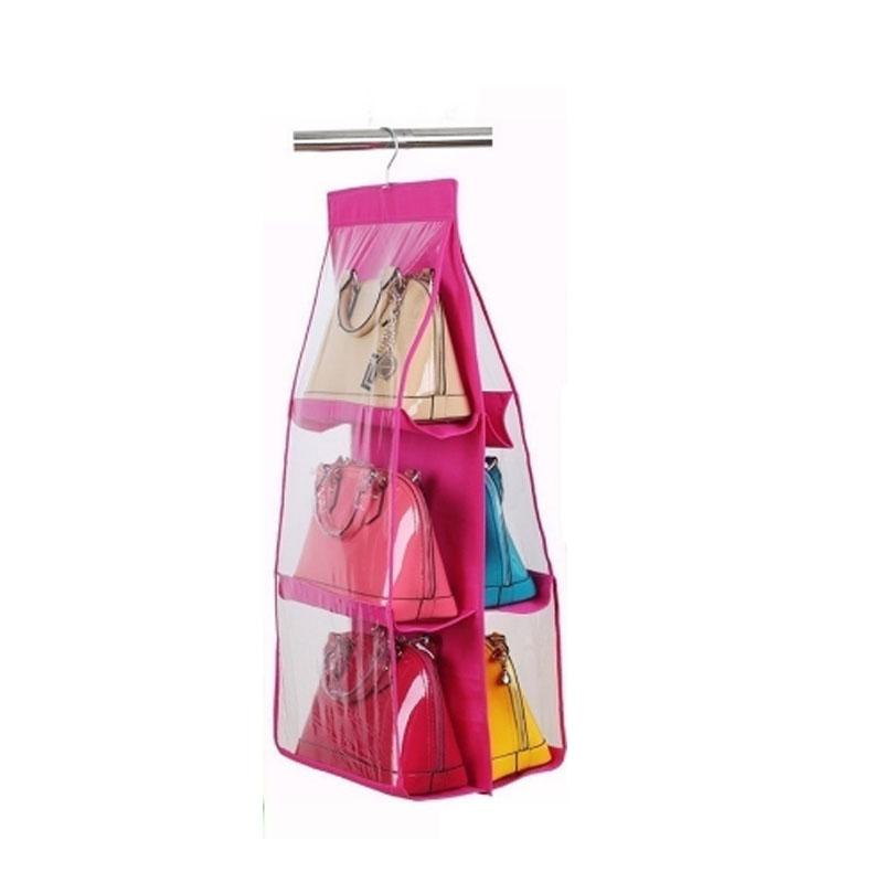 6 pockets hanging handbag purse bag rack hanger wardrobe - Handbag hanger for closet ...