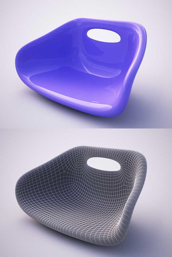 使用poly(可编辑多边形)建曲面椅子模型教程