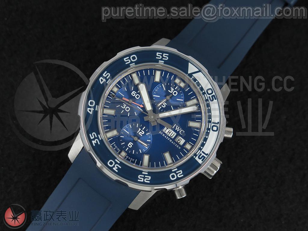 【SuperLumed超级夜光/潜水计时器码表】 海洋时计系列 IW376711 44mm/不锈钢表壳/蓝宝石玻璃单向旋转表圈/蓝白/蓝色橡胶表带/自动上链机芯