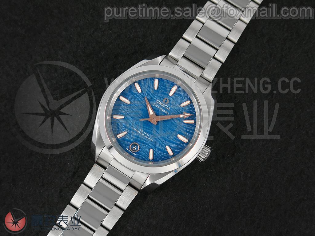 【双T避震器/黑色摆轮】海马系列 AQUA TERRA 150米腕表 220.10.38.20.03.002/38mm/天蓝色纹理表盘/不锈钢表壳/不锈钢表带/折叠式表扣/第二代Cal.8800自动上链机