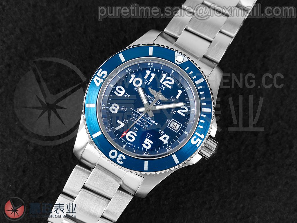 【最佳入门潜水表/可选配ETA2836机芯】 超级海洋系列Y17393161C1A1/44mm/校正版蓝色表盘/实心316L不锈钢表带/蓝色铝质表圈/校正版海鸥ST2130自动上链机芯