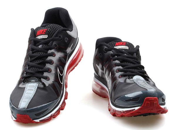 耐克 nike 男子运动鞋 Air Max2009 网纱 全掌气垫 跑步鞋 黑红