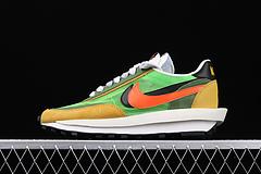 正确版Sacai x Nike LVD Waffle Daybreak 联名走秀款 网纱皮面拼接 双勾Swoosh跑步鞋 BV0073-300