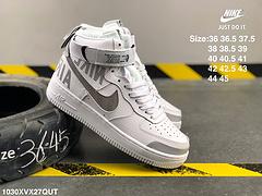 耐克空军一号头层皮皮面透明蝉翼纱LOGO高帮板鞋NIKEAIRFORCE107LV82CQO449001编号1030XVX27QUT