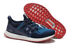 adidas阿迪达斯2015年男女款Ultra Boost运动爆米花跑步鞋B27171 1405-8 深蓝红底36-44