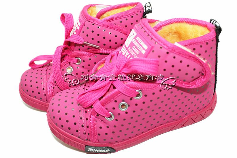 双元冬季新款大棉儿童棉鞋保暖鞋 28 32中童防水点点男女...
