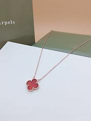 梵克雅宝VanCleefArpels 18K四叶草红色贝母项链