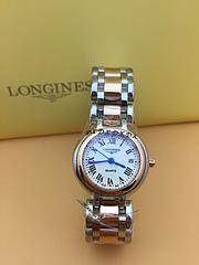 浪琴心月系列精致女士腕表,采用瑞士石英机芯, 316精钢表壳表链 ,蝴蝶按扣 尺寸:26.5m 厚9mm 金色