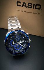 卡西欧EF-539系列防水运动石英腕表,316精钢,计时、日期、码表多功能大表盘  蓝银