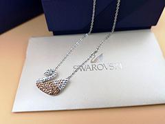 施华洛世奇项链 爆款天鹅满钻项链 A925纯银材质 美丽动人 现货 黑金