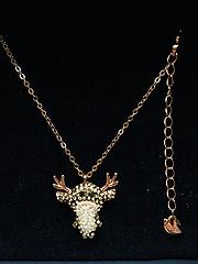 施华洛麋鹿海贼王乔巴项链毛衣链,材质S925银,玫瑰金链子