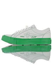 GolfLeFleurxConverseOneStarOXColourblock一星系列经典低帮百搭麂皮休闲运动硫化板鞋皮革白油漆绿底164025C