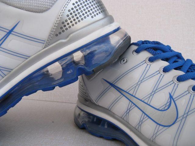 正品耐克2009款新款跑鞋Nike Air Max 全掌气垫跑步鞋白银兰男款