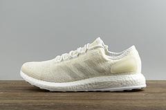 独家正品鞋面ADIDAS阿迪达斯男鞋PureBOOST休闲跑步运动鞋S82098镂空米白
