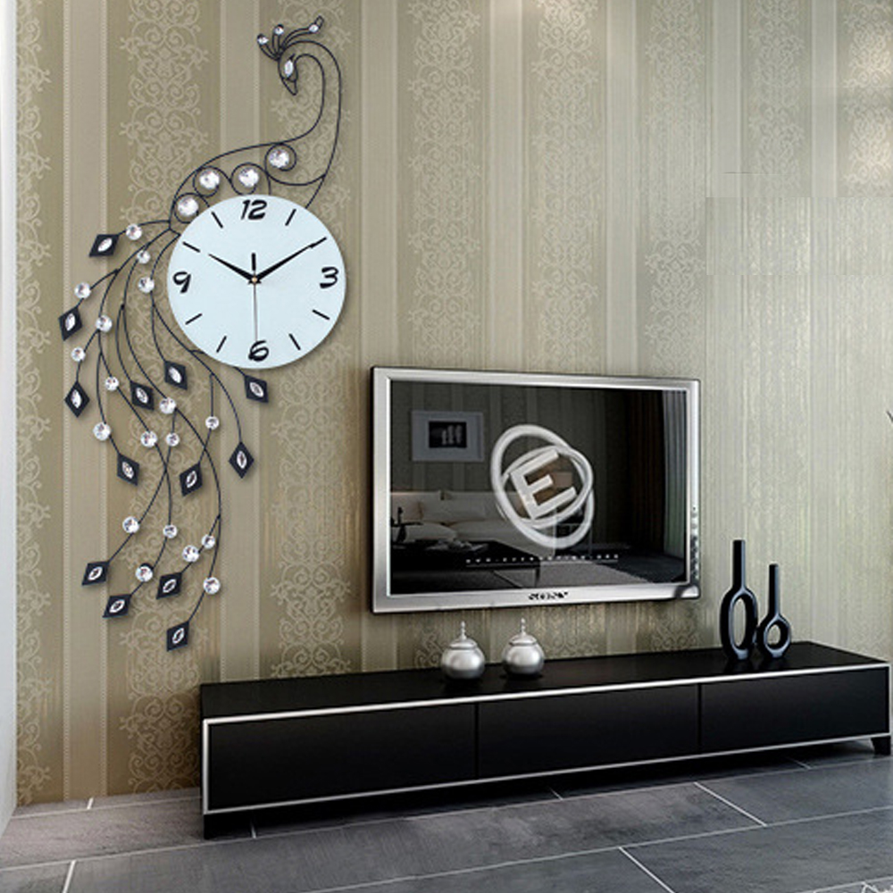 Luxury Peacock Iron Art Living Room Wall Clock Modern Home