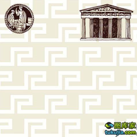 外国古建筑 古希腊建筑 石柱 古典建筑 雅典古建筑 矢量565