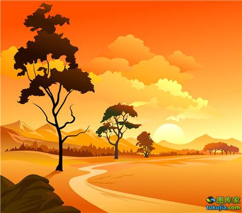 自然风景 自然景色 自然美景 田园风光 田园风景 矢量84