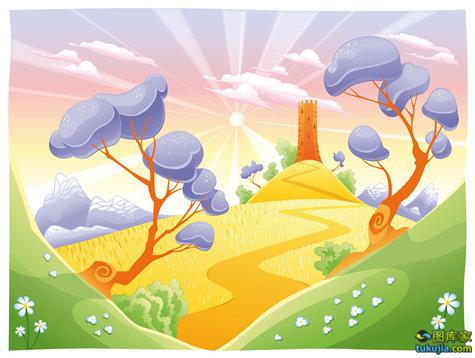 自然风景 自然风光 田园景色 卡通风景 自然 矢量22
