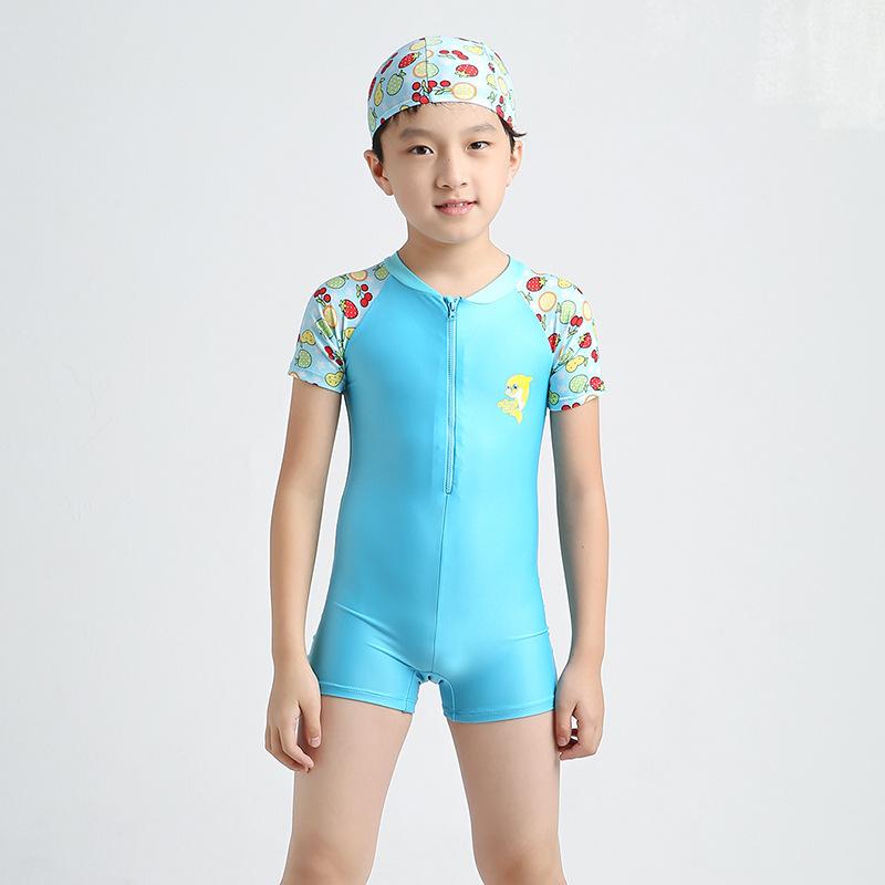3-14Y Kids Boys One Piece Swimsuit Swimwear Short Sleeve ...