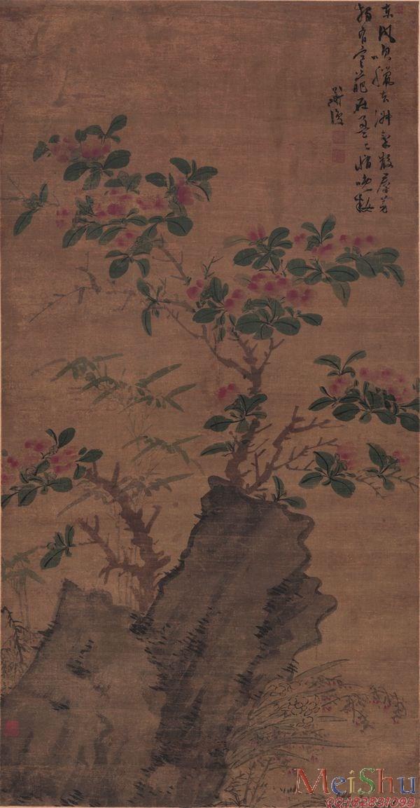【超顶级】GH6085538古画树木植物-明陈道复着色花卉图轴绢本-59x113.4立轴图片-356M-6966X13393