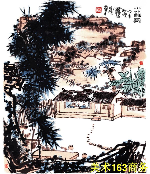 JXD12120630-风景方式-潘天寿《小篱园》高清近现代国画晰高质量下载印刷喷绘电子文件下载-295M-9449X10945