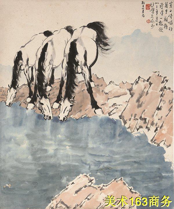 【印刷级】JXD12120516-动物方式-国画徐悲鸿 饮马图高清晰高质量下载印刷喷绘图片-74M-4046X4846