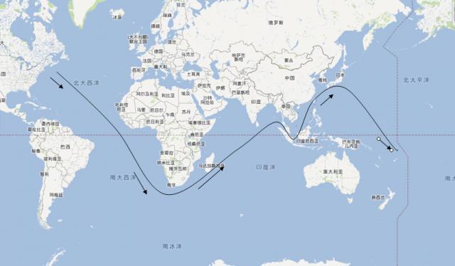 《白鲸》中披谷德号(或译裴廓德号)捕鲸船大体航行路线