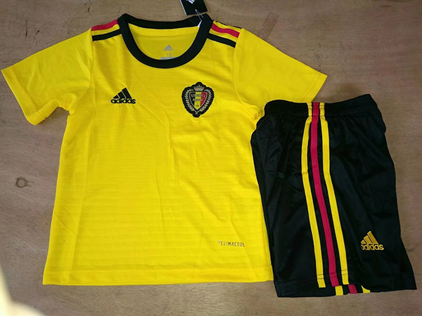2018 World Cup Belgium Away Yellow Color Youth Kids Football ... 864727110
