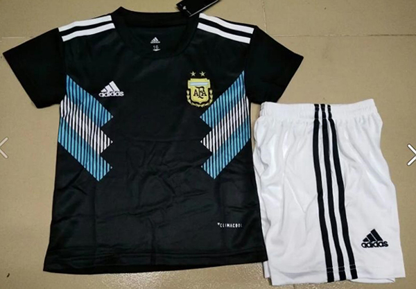 f474a27d88a 2018 World Cup Argentina Away Black Color Youth Kids Football ...