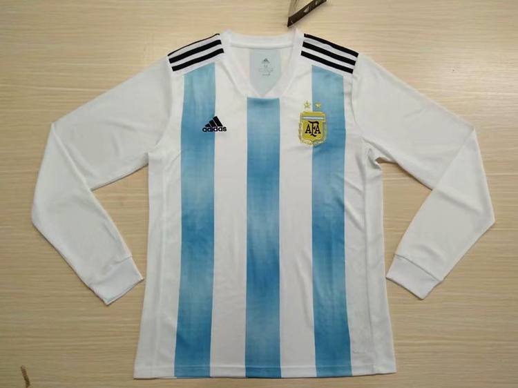 2018 World Cup Argentina Home Blue-White Color Long Sleeves Soccer ... e0bc945f3