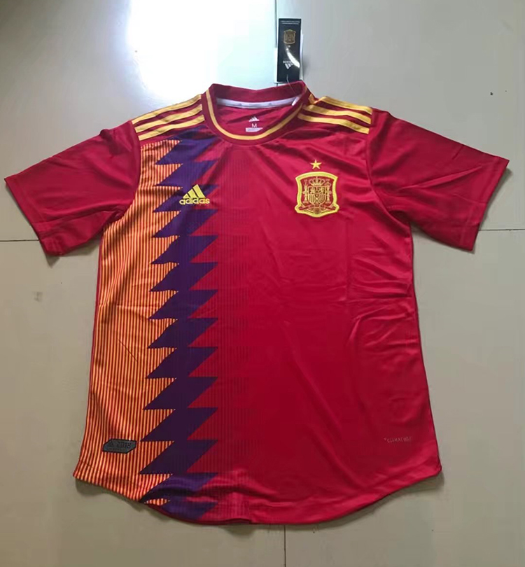 df1b71190 2018 World Cup Spain Home Red Color Soccer Jersey Top Thailand ...