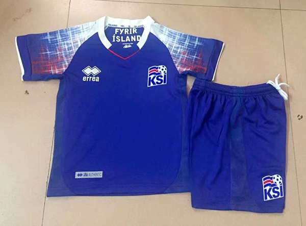 1d9466618 2018 World Cup Iceland Home Blue Color Youth Kids Football Uniforms ...