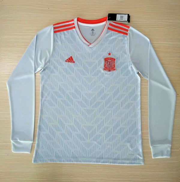 2018 World Cup Spain Away White Color Long Sleeves Soccer Jersey Top ... 5ee2e75a6
