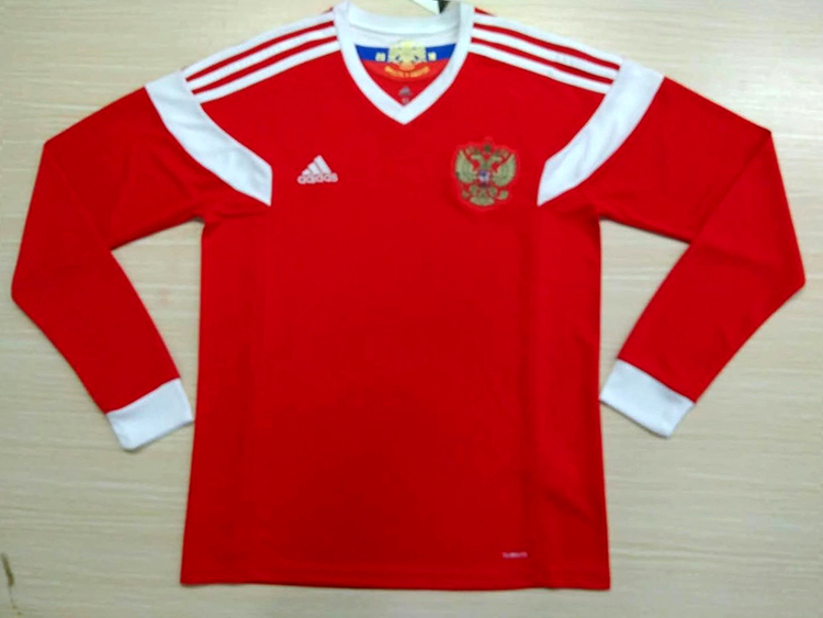 new styles 3517d c1045 2018 World Cup Russia Home Red Color Long Sleeves Soccer ...