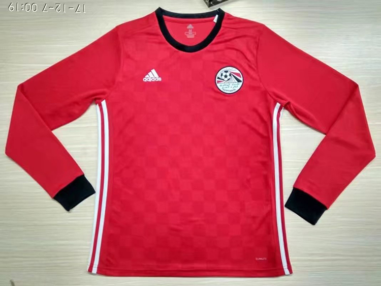 2018 World Cup Egypt Home Red Color Long Sleeves Soccer Jersey Top ... 704e240a7