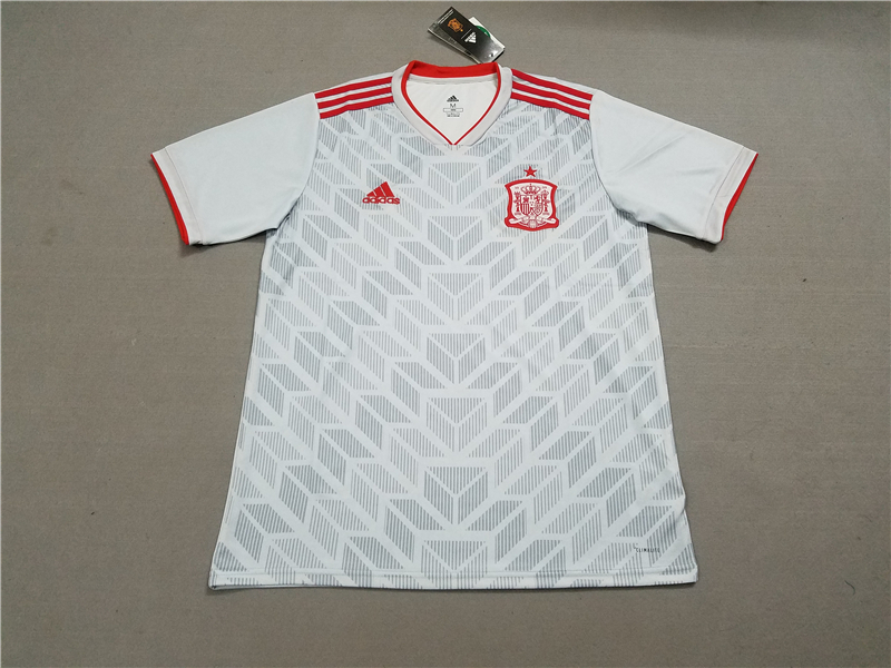 new style c3316 1eb3c 2018 World Cup Spain Away Grey Color Soccer Jersey Top ...