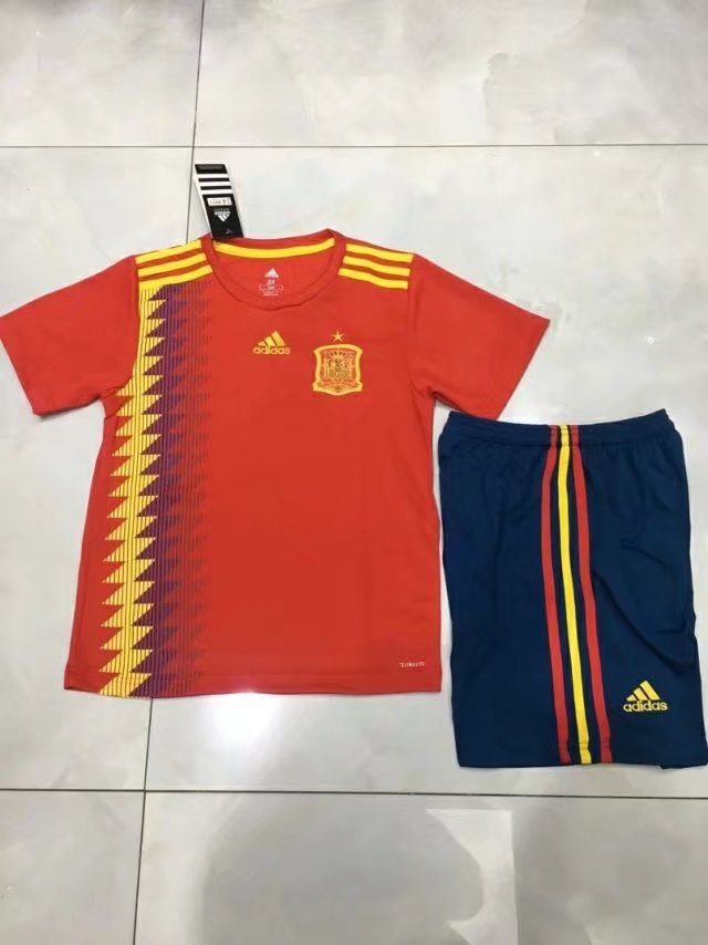 e3aa899745a 2018 World Cup Spain Home Red Color Youth Kids Football Uniforms ...
