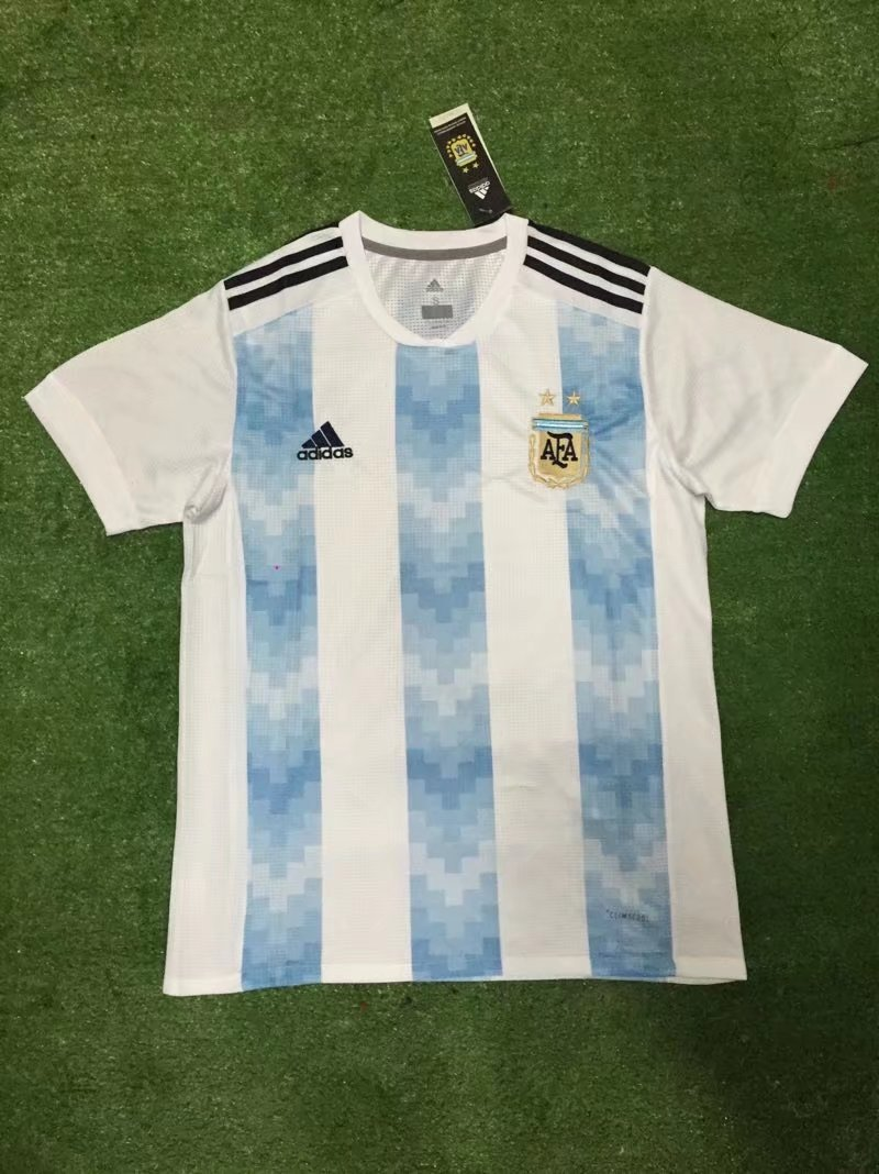 89704cba0 2018 World Cup Argentina Home Blue-White Color Soccer Jersey Top ...