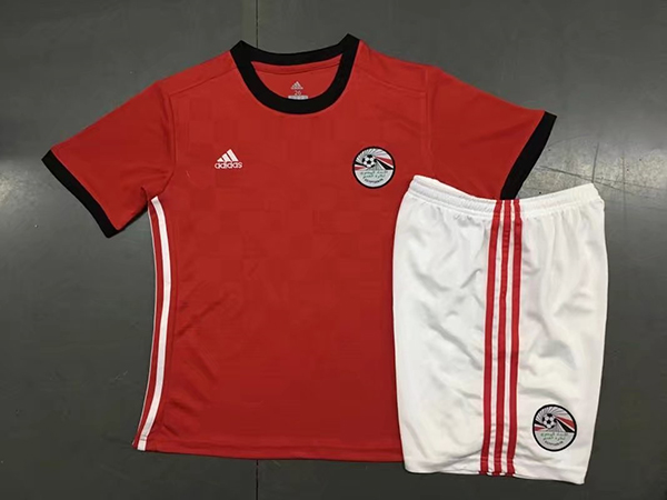 2018 World Cup Egypt Home Red Color Youth Kids Football Uniforms ... 771799de8