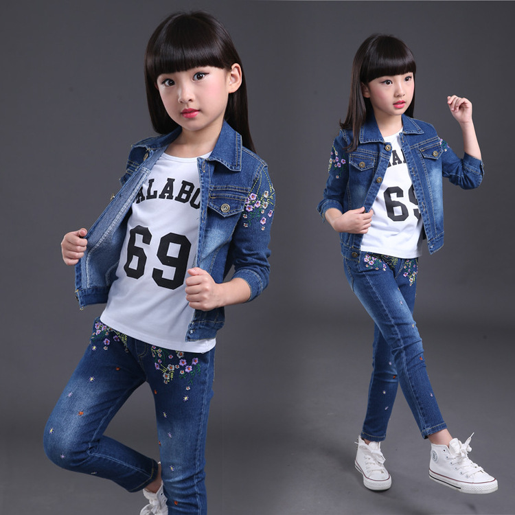 1a8aaf6e1 2019 Baby Girl Clothes 2018 Autumn Girls Cowboy Casual Sportswear ...