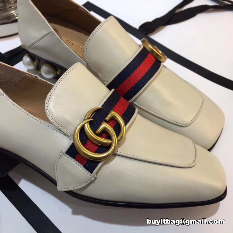 0e0f738c378 Best high quality discount Gucci women Leather mid heel GG pearls ...