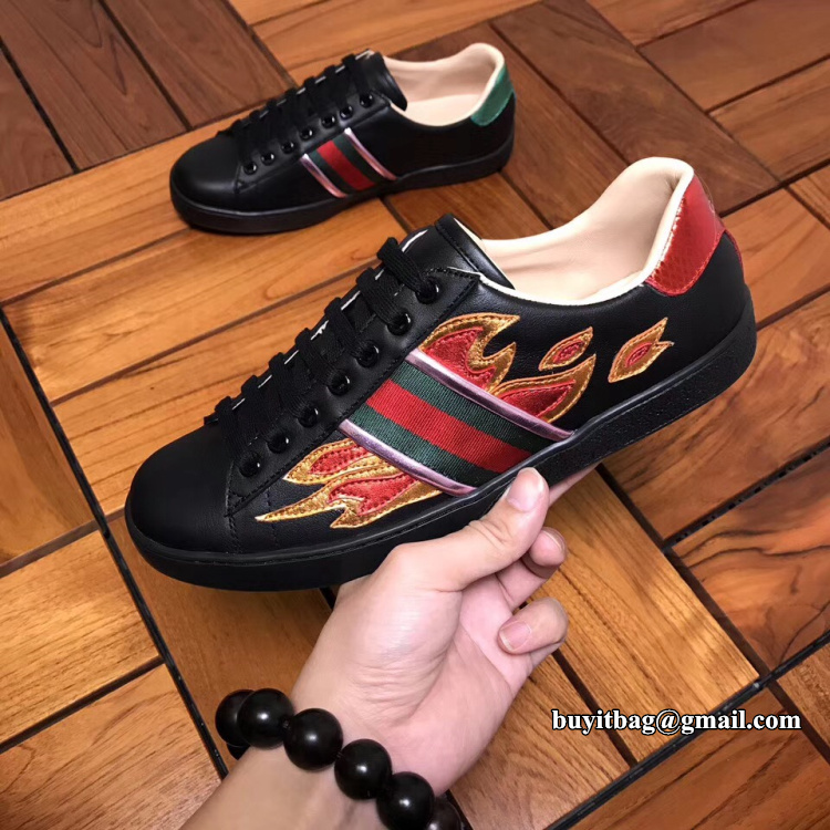 bcb2e3cf72d best high quality cheap discount Gucci Ace low top black sneaker with flames  440724 on sale