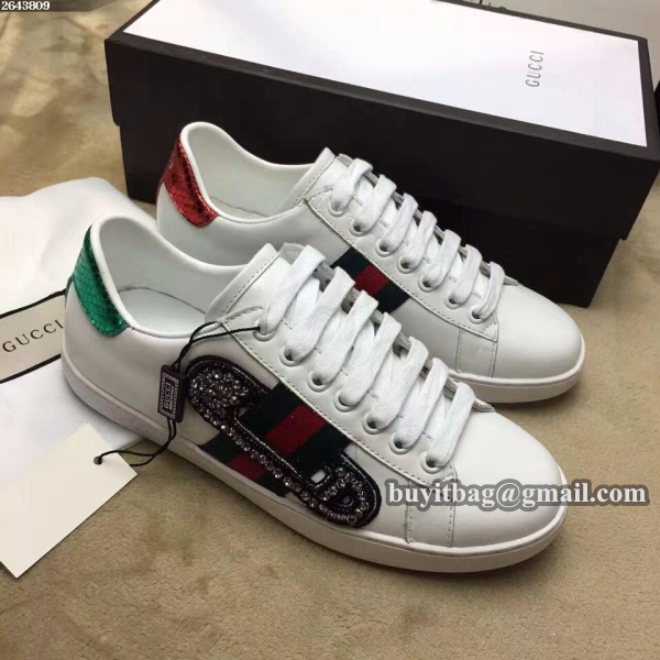 Gucci women Ace embroidered low top sneaker with crystal embroidered safety pin 454552